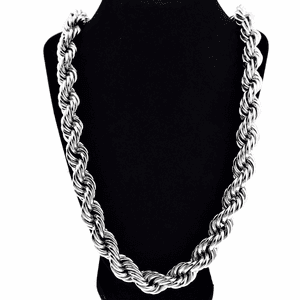 "16 mm x 36"" Silver Tone Rope Chain"