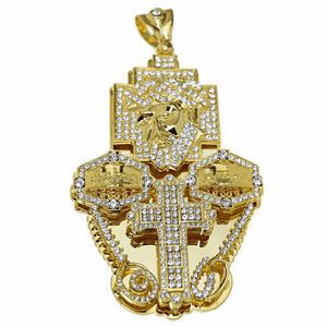 3D Combo Jesus Gold Finish Charm