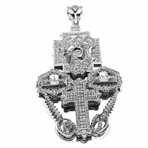 3D Combo Jesus Silver Charm (Large)