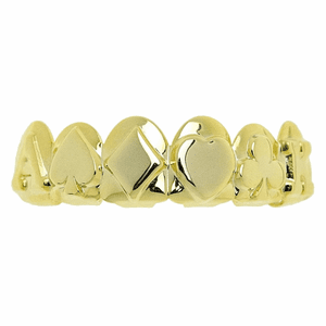 Gold Poker 3D Top Teeth Grillz