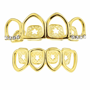 Gold 4 Full Open Face Grillz Set