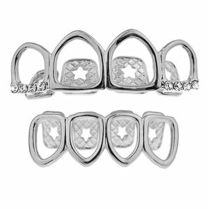 Silver 4 Full Open Face Grillz Set