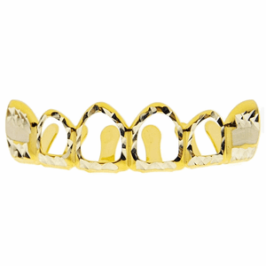 4 Open Diamond-Cut 2-Tone Top Grillz