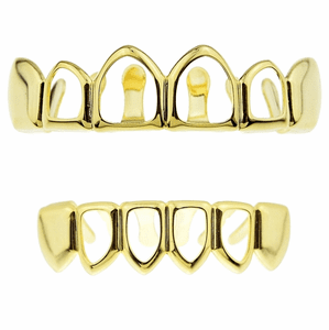 Gold 4 Open Face Teeth Grillz Set