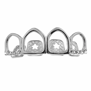 Silver All 4 Open Face Top Grillz