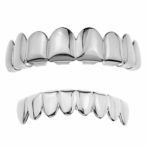 Silver 8/8 Plain Teeth Grillz Set