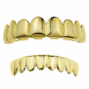 14K Gold Plated 8/8 Teeth Grillz Set