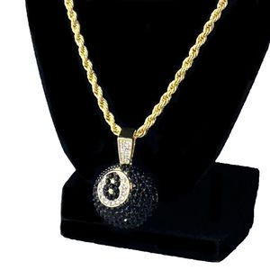 Black Iced 8 Ball Gold Rope Chain 24""