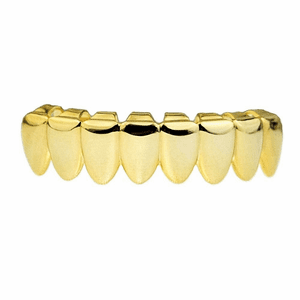 14K Gold Plated 8 Bottom Teeth Grillz