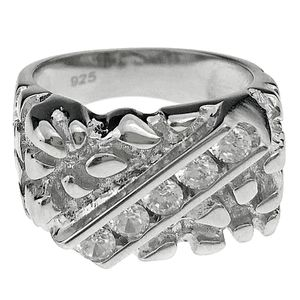 925 Silver Diagonal Set Nugget Ring