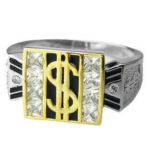925 Silver Iced Dollar Sign Ring