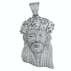 925 Silver Iced Jesus Pendant (LARGE)