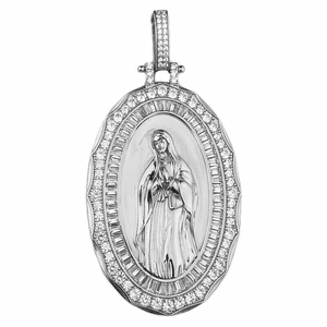 """Holy Mary Gold 925 Silver Pendant 2.75"""""""
