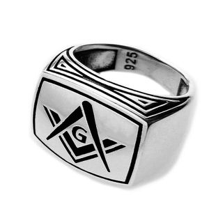 Oxidized 925 Silver Masonic Ring