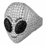 925 Silver Micro Pave Alien Ring