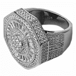 925 Sterling Silver Big Octagon Ring