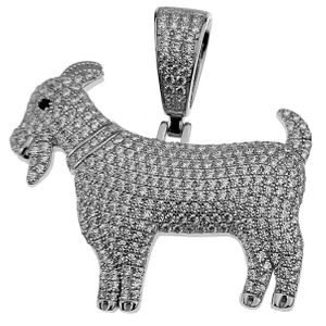 925 Silver Flooded Iced Goat Pendant