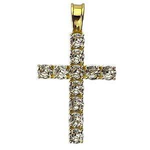 Gold On 925 Tennis Cross Pendant 1.75""