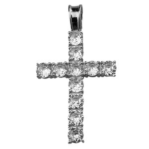 925 Silver Tennis Cross Pendant 1.75""