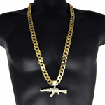"Gold AK-47 Rifle Gun 33"" Cuban Chain"