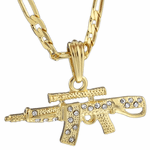 """AK-47 Gold Plated 24"""" Figaro Chain"""