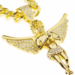 "Angel Wings Gold 30"" Cuban Chain"