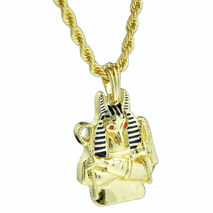 Anubis Bust Gold Rope Chain 24""