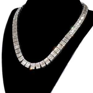 "Silver Baguette Chain 10MM 18"" Inch"