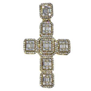 Gold 925 Baguette Cross Pendant 2""