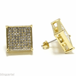Square Bling Earrings Gold 15MM