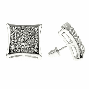 Big 17 mm Kite Silver Bling Kite Earrings