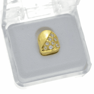 Gold CZ Half Stone Tooth