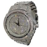 Mens Big Face Micro Pave Silver Watch