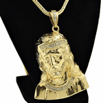 "Jesus Bust Gold 36"" Franco Chain"