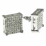 Square Silver Earrings 14MM