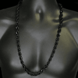 "30"" Black 10mm Rope Chain"