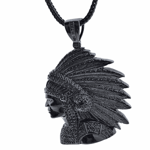 "Black Indian Chief 36"" Franco Chain"