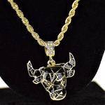Black & Gold Bull Rope Chain 24""