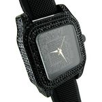 Black Big Square Bling Watch