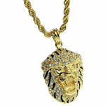 "Black & Gold Lion 24"" Rope Chain"