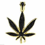 Black On Gold Weed Leaf Pendant