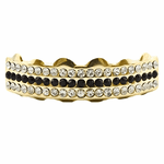 Gold Black Bling 3 Row Top Grillz