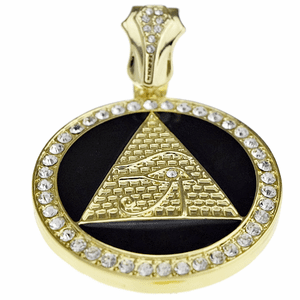 Pyramid Eye Black Gold Coin Pendant