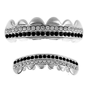 Silver 2-Row Black Bling Grillz Set