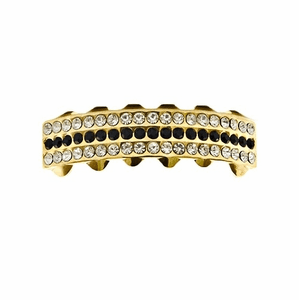 Gold 3-Row Black Bling Bottom Grillz