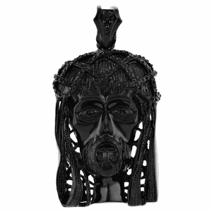 Black Jesus Head Iced-Out Pendant