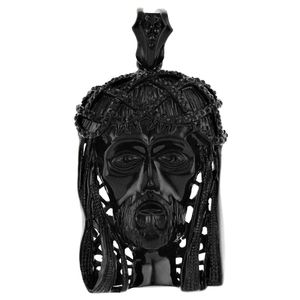 Black Bling Jesus Head Pendant