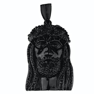 Black Full Flooded Jesus Iced Pendant