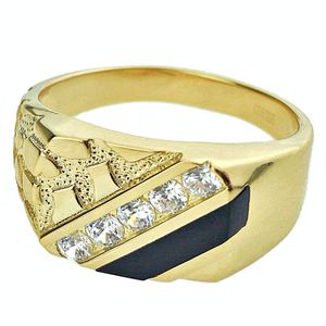 14K Gold Plated 925 Silver Onyx Ring