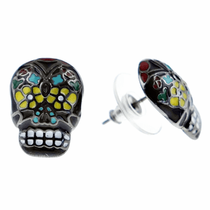 Sugar Skull Black Earrings
